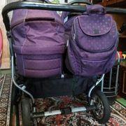 многофункуиональная коляска двойная в хорошем состоянии со всем!